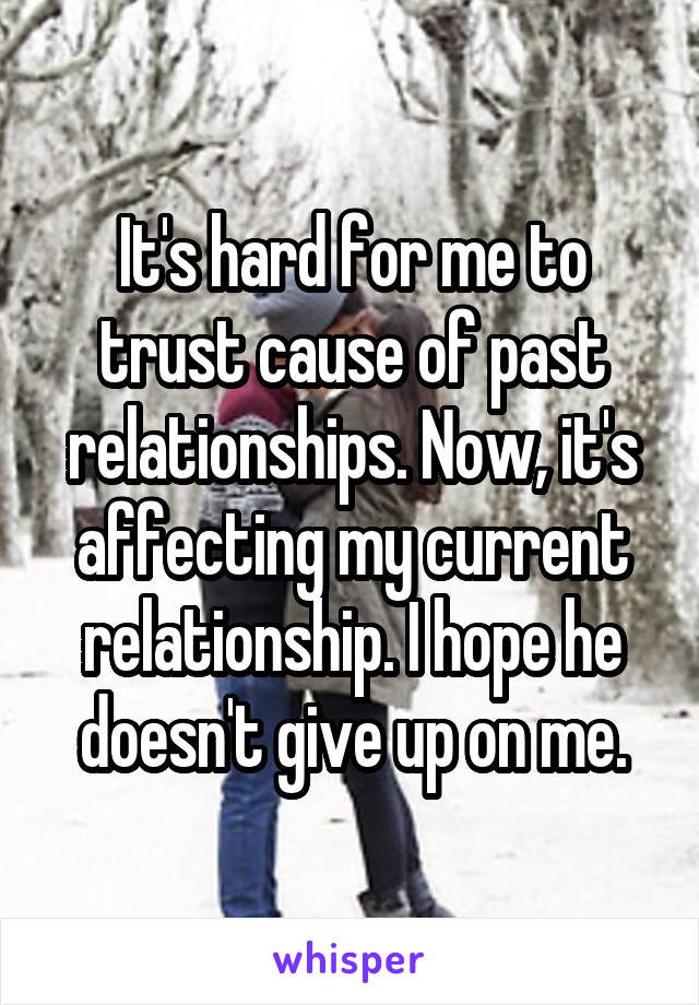 It's hard for me to trust cause of past relationships. Now, it's affecting my current relationship. I hope he doesn't give up on me.
