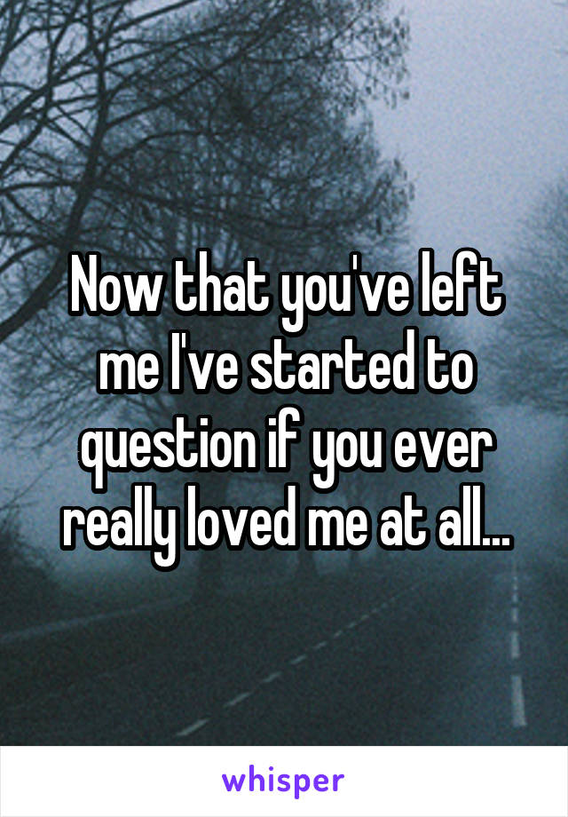 Now that you've left me I've started to question if you ever really loved me at all...
