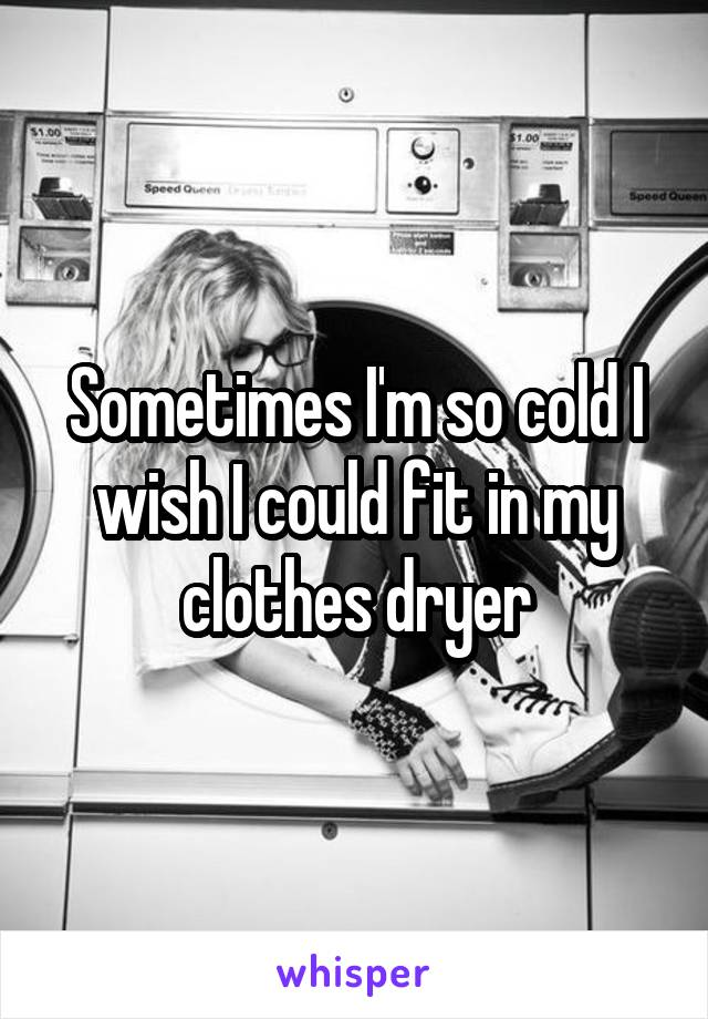 Sometimes I'm so cold I wish I could fit in my clothes dryer