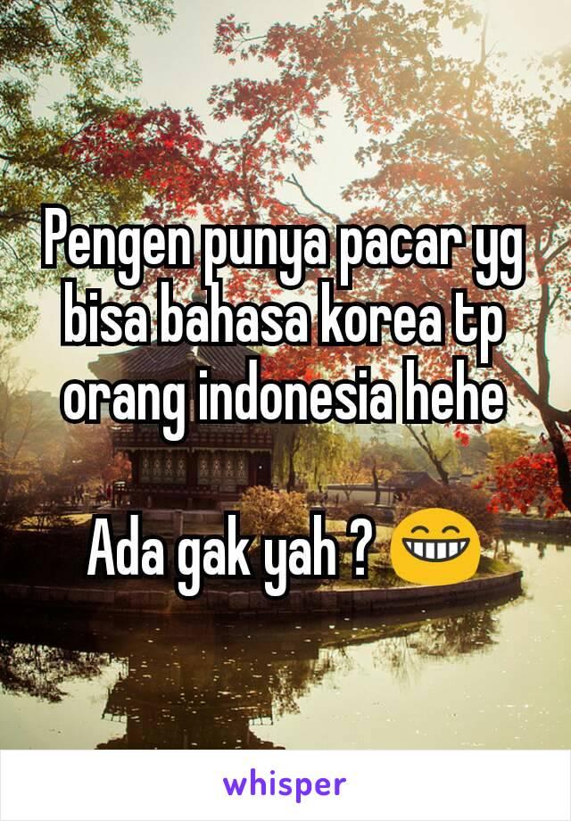 Pengen punya pacar yg bisa bahasa korea tp orang indonesia hehe  Ada gak yah ? 😁