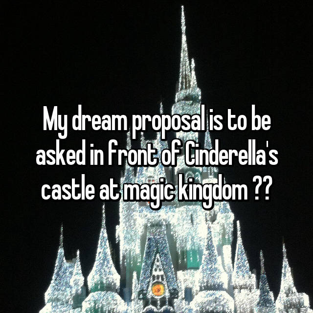 My dream proposal is to be asked in front of Cinderella's castle at magic kingdom 💍❤️