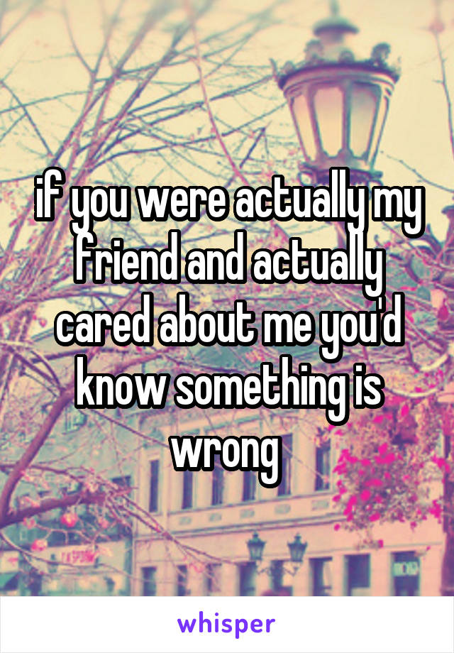 if you were actually my friend and actually cared about me you'd know something is wrong