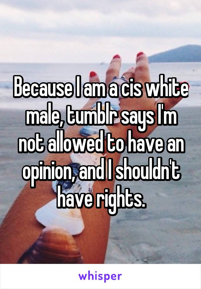 Because I am a cis white male, tumblr says I'm not allowed to have an opinion, and I shouldn't have rights.