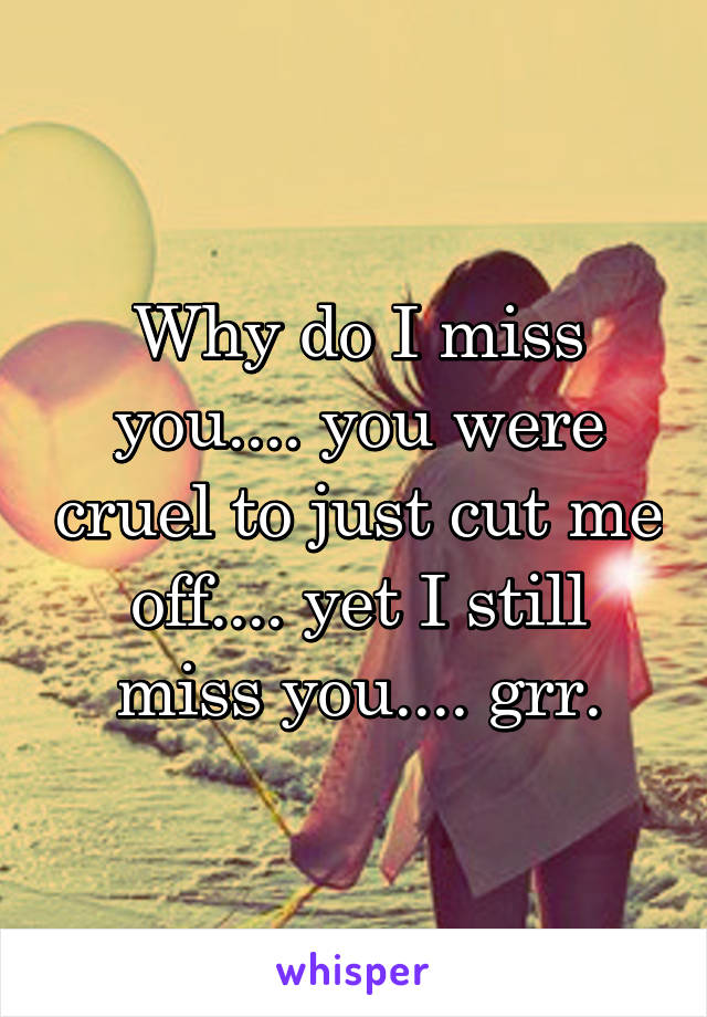 Why do I miss you.... you were cruel to just cut me off.... yet I still miss you.... grr.
