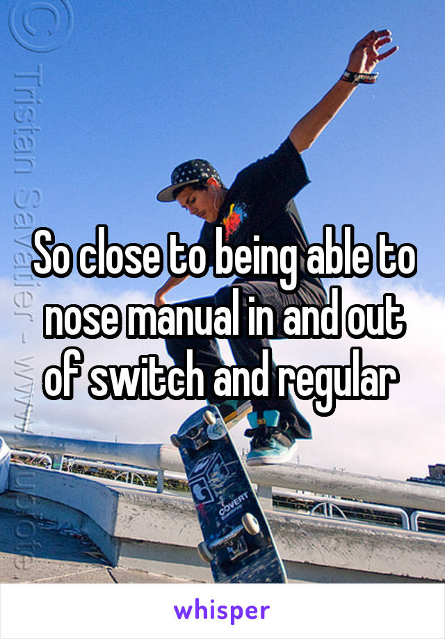 So close to being able to nose manual in and out of switch and regular