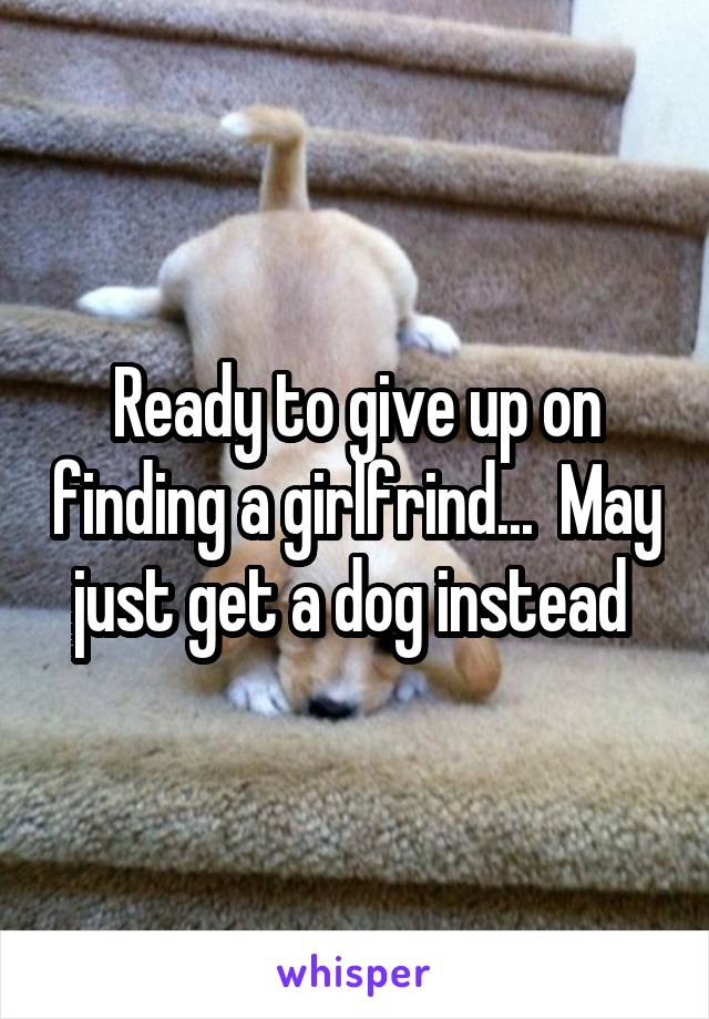 Ready to give up on finding a girlfrind...  May just get a dog instead
