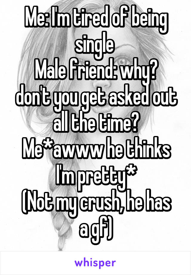 Me: I'm tired of being single  Male friend: why? don't you get asked out all the time? Me*awww he thinks I'm pretty* (Not my crush, he has a gf)