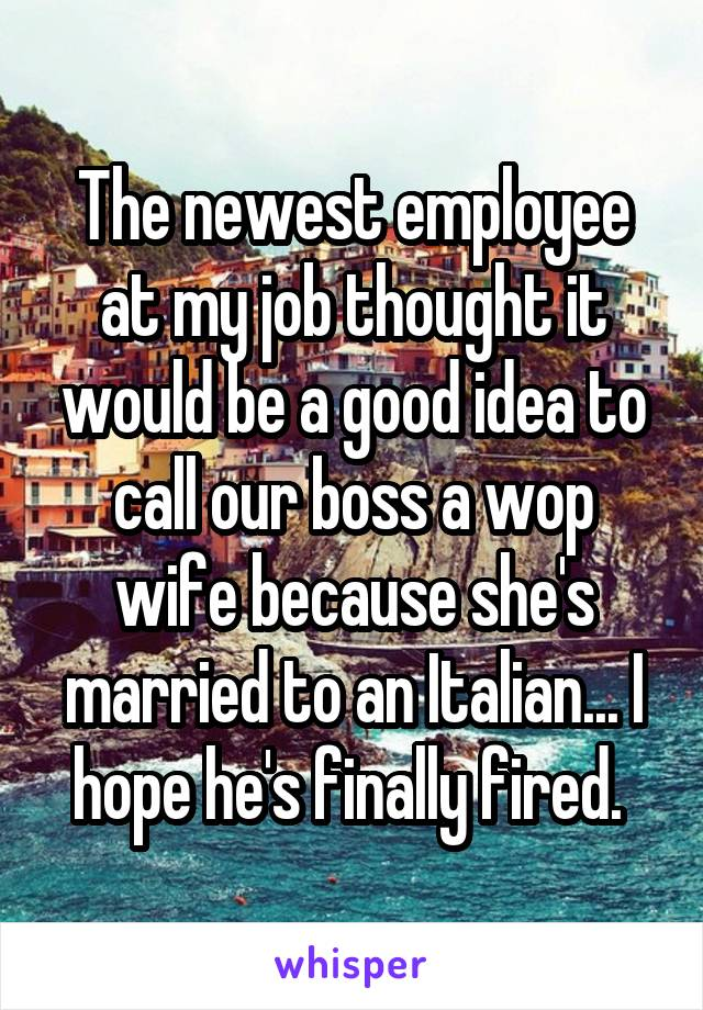 The newest employee at my job thought it would be a good idea to call our boss a wop wife because she's married to an Italian... I hope he's finally fired.