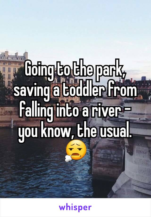 Going to the park, saving a toddler from falling into a river - you know, the usual. 😧