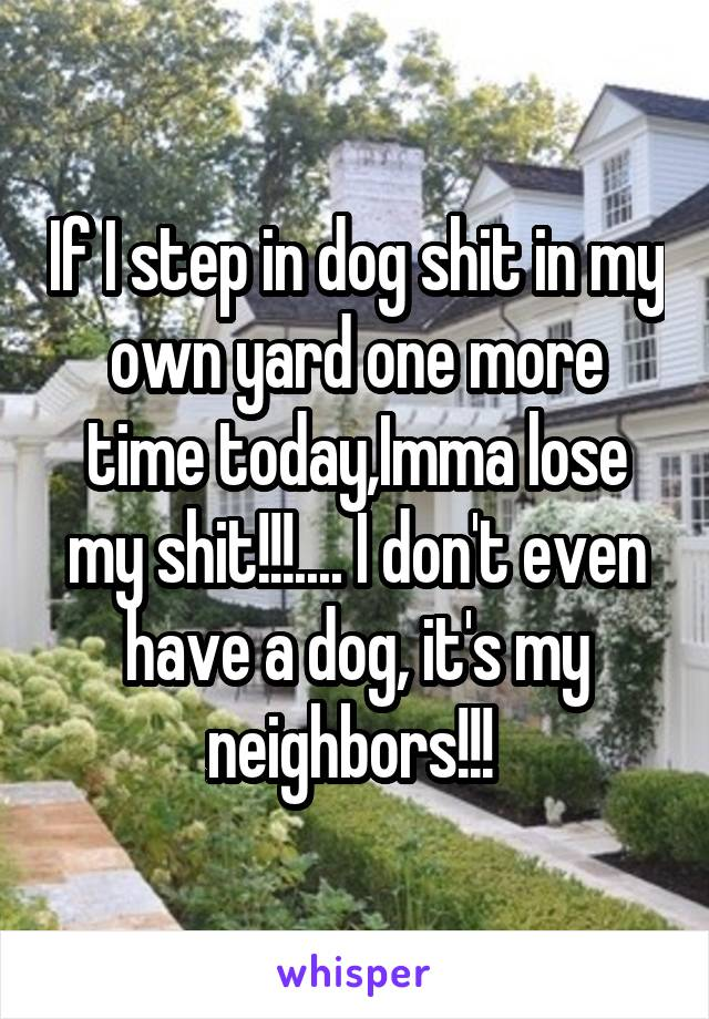 If I step in dog shit in my own yard one more time today,Imma lose my shit!!!.... I don't even have a dog, it's my neighbors!!!