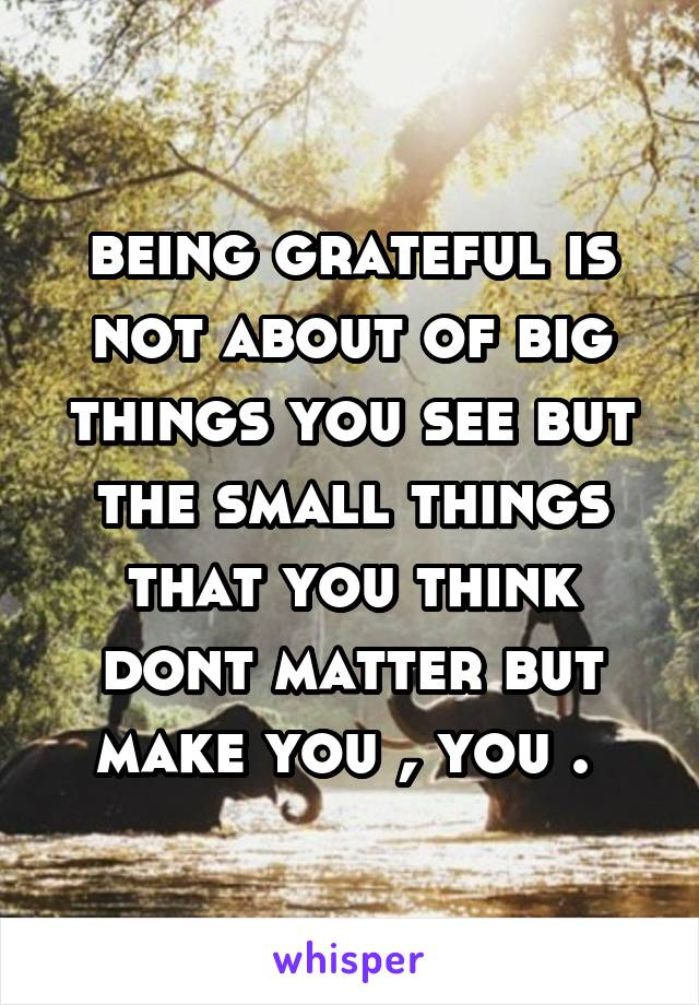 being grateful is not about of big things you see but the small things that you think dont matter but make you , you .