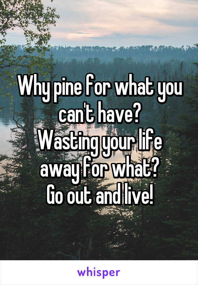 Why pine for what you can't have? Wasting your life away for what? Go out and live!