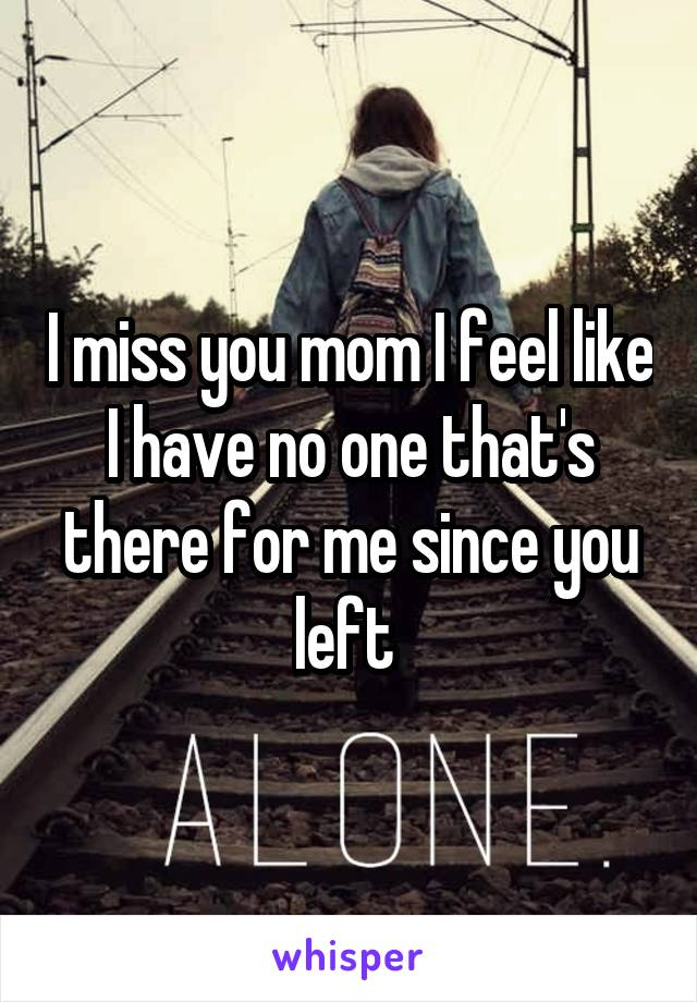 I miss you mom I feel like I have no one that's there for me since you left