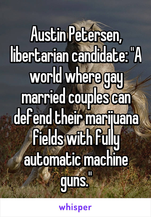 """Austin Petersen, libertarian candidate: """"A world where gay married couples can defend their marijuana fields with fully automatic machine guns."""""""
