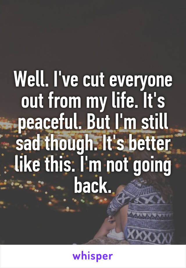 Well. I've cut everyone out from my life. It's peaceful. But I'm still sad though. It's better like this. I'm not going back.