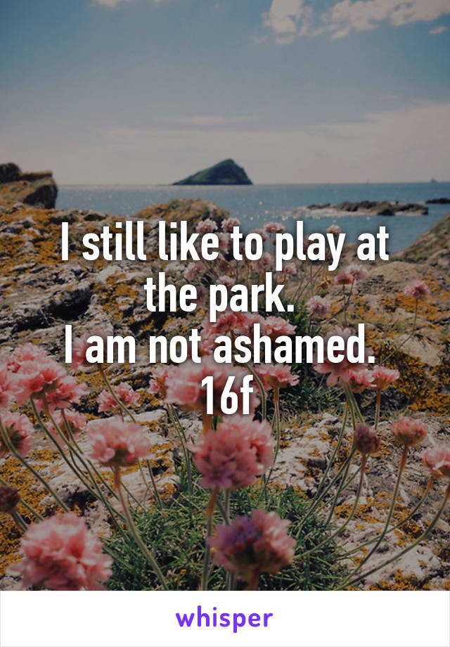 I still like to play at the park.  I am not ashamed.  16f