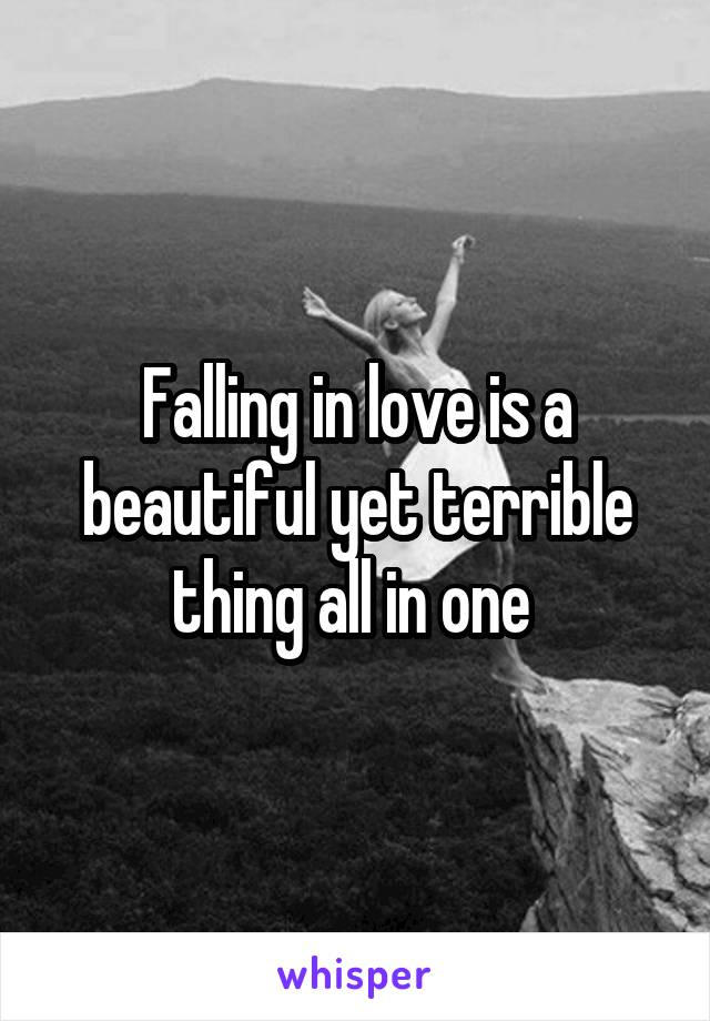 Falling in love is a beautiful yet terrible thing all in one
