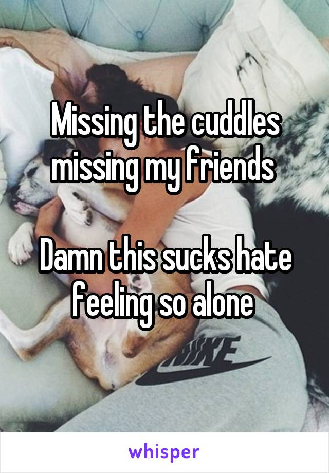 Missing the cuddles missing my friends   Damn this sucks hate feeling so alone