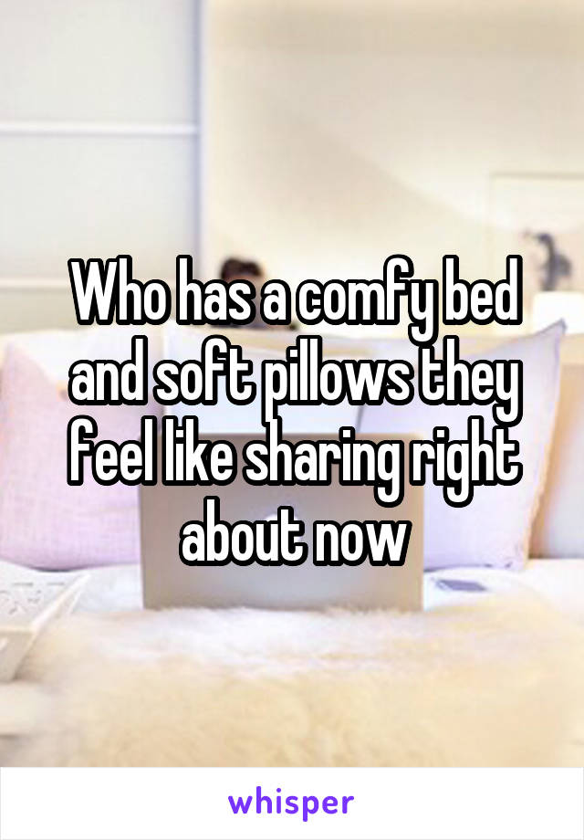 Who has a comfy bed and soft pillows they feel like sharing right about now