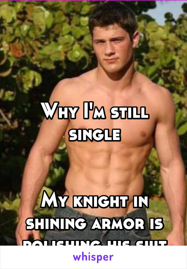 Why I'm still single   My knight in shining armor is polishing his suit