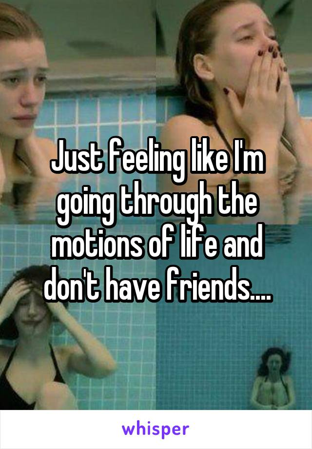 Just feeling like I'm going through the motions of life and don't have friends....