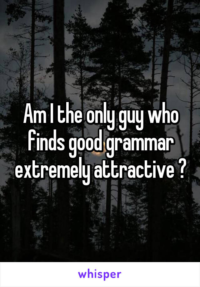 Am I the only guy who finds good grammar extremely attractive ?