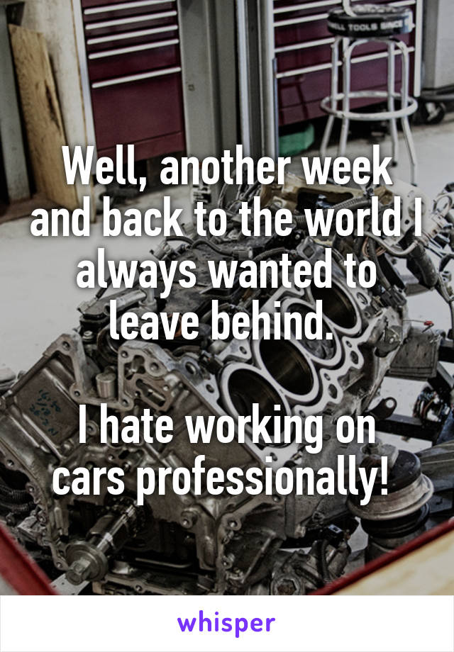 Well, another week and back to the world I always wanted to leave behind.   I hate working on cars professionally!
