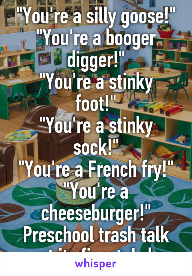 """You're a silly goose!"" ""You're a booger digger!"" ""You're a stinky foot!"" ""You're a stinky sock!"" ""You're a French fry!"" ""You're a cheeseburger!"" Preschool trash talk at its finest. Lol"