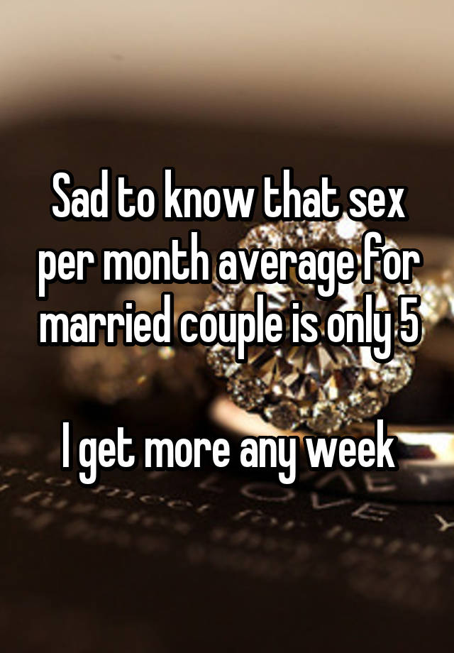 Average weekly sex for married couples