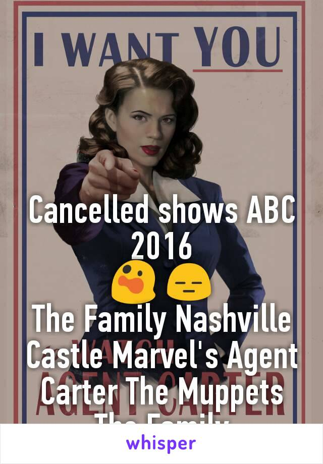 Cancelled shows ABC 2016  😲 😑  The Family Nashville Castle Marvel's Agent Carter The Muppets The Family
