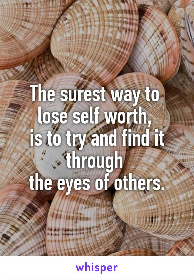 The surest way to  lose self worth,  is to try and find it through  the eyes of others.