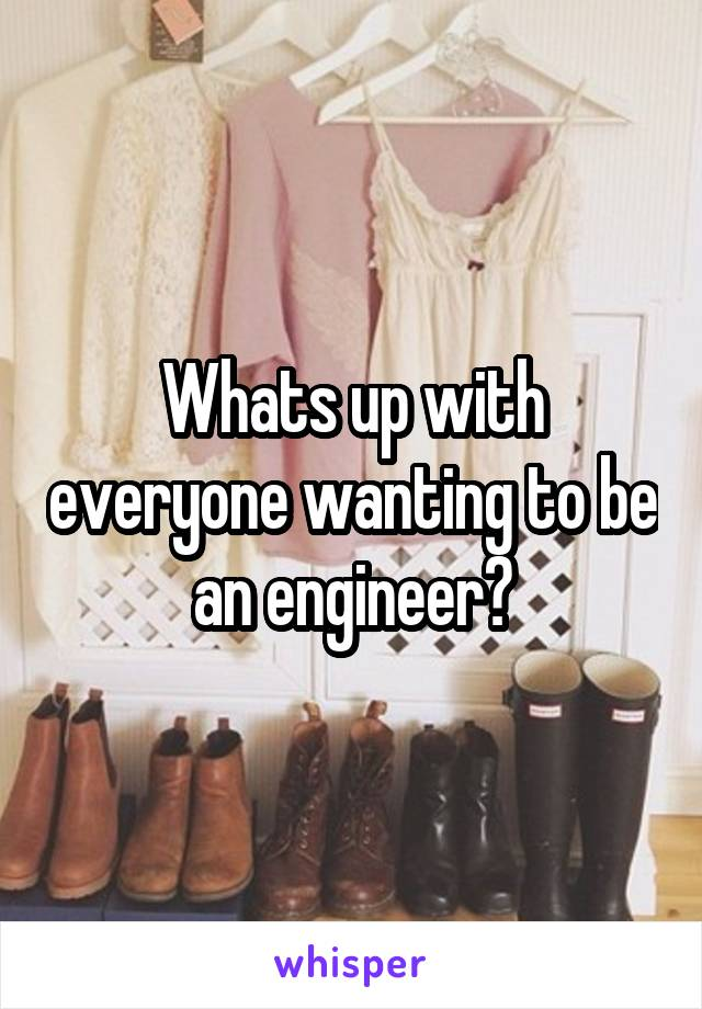 Whats up with everyone wanting to be an engineer?