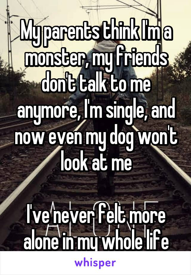 My parents think I'm a monster, my friends don't talk to me anymore, I'm single, and now even my dog won't look at me  I've never felt more alone in my whole life