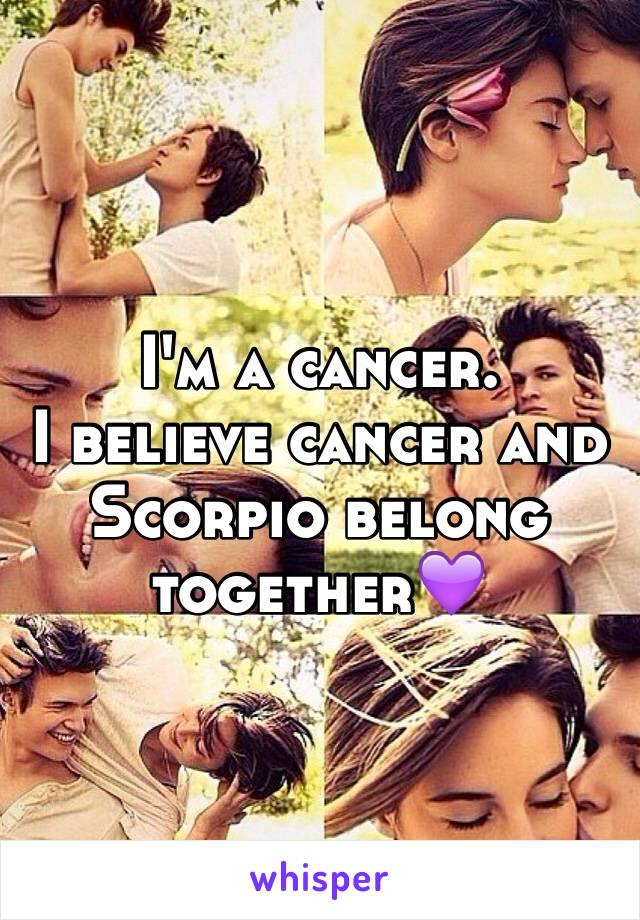 I'm a cancer. I believe cancer and Scorpio belong together💜