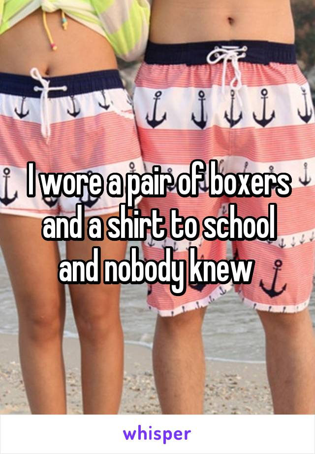 I wore a pair of boxers and a shirt to school and nobody knew
