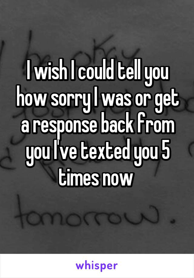 I wish I could tell you how sorry I was or get a response back from you I've texted you 5 times now