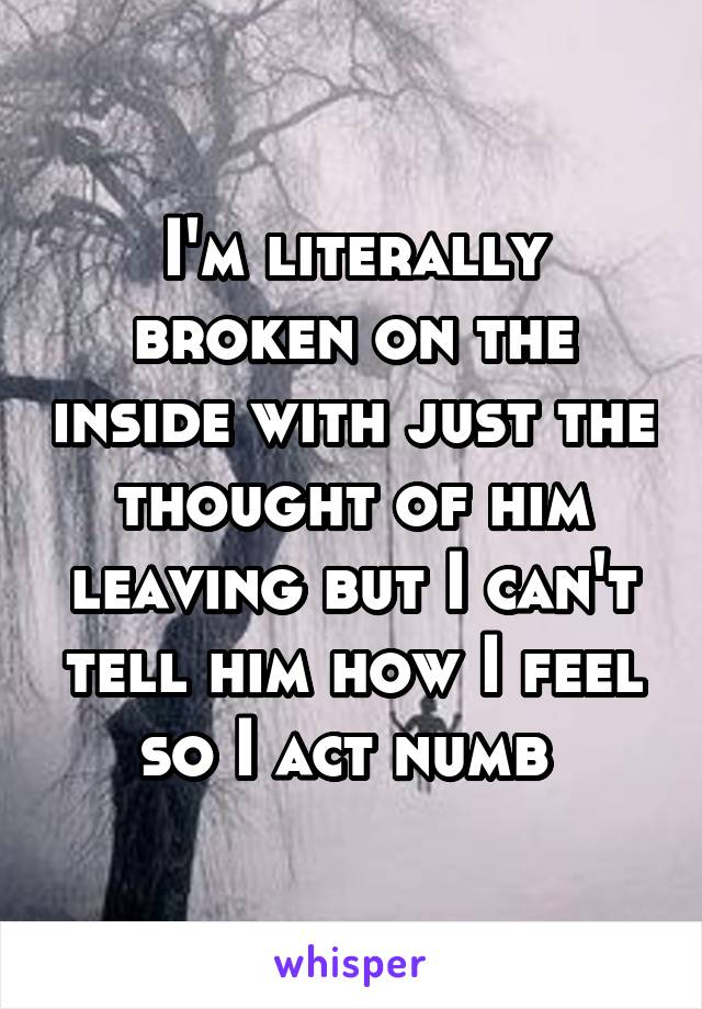 I'm literally broken on the inside with just the thought of him leaving but I can't tell him how I feel so I act numb