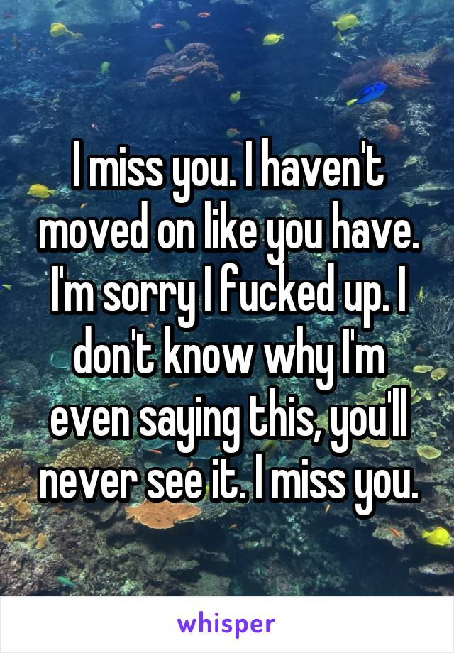 I miss you. I haven't moved on like you have. I'm sorry I fucked up. I don't know why I'm even saying this, you'll never see it. I miss you.