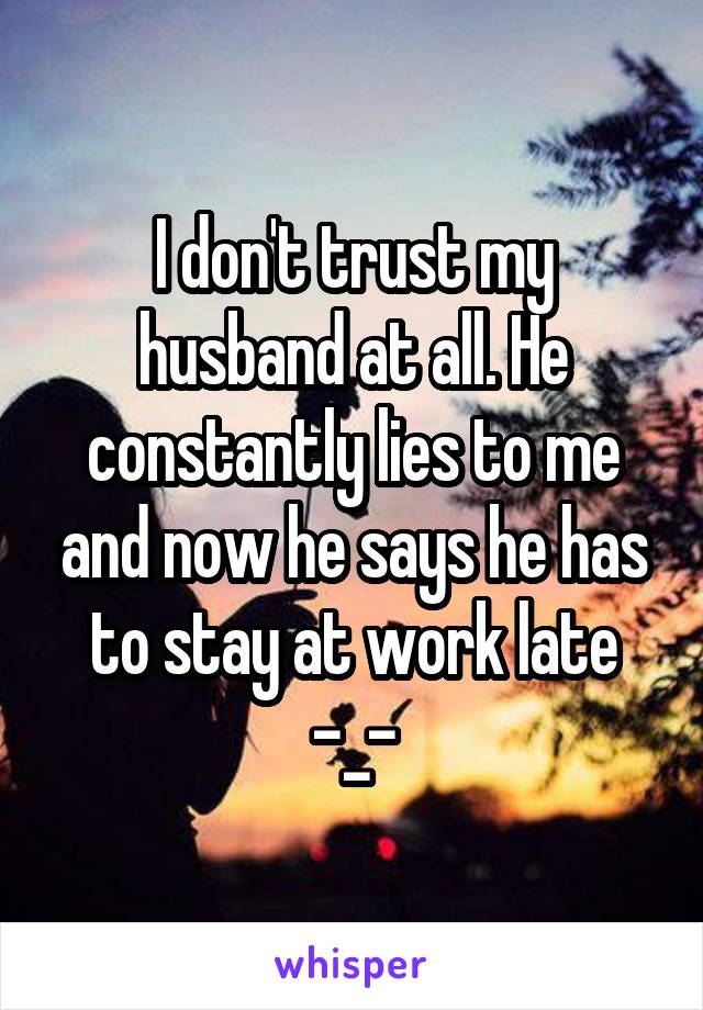 I don't trust my husband at all. He constantly lies to me and now he says he has to stay at work late -_-