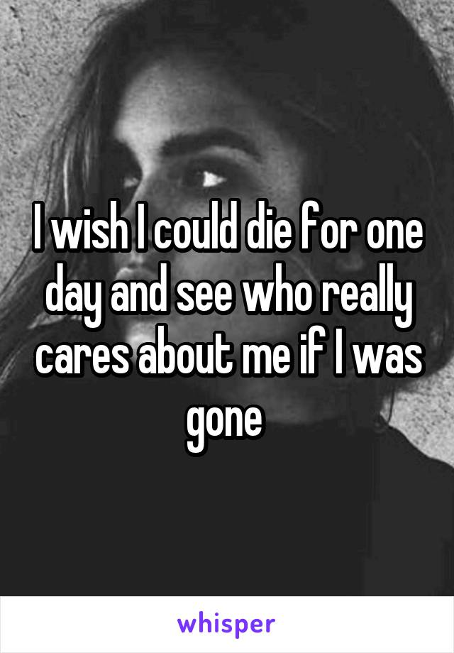 I wish I could die for one day and see who really cares about me if I was gone