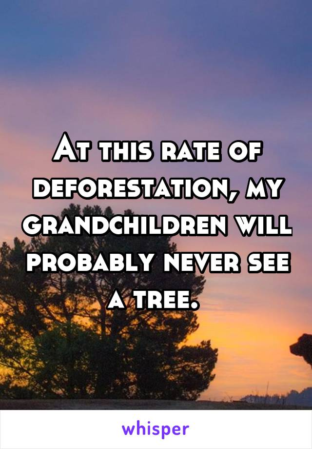 At this rate of deforestation, my grandchildren will probably never see a tree.