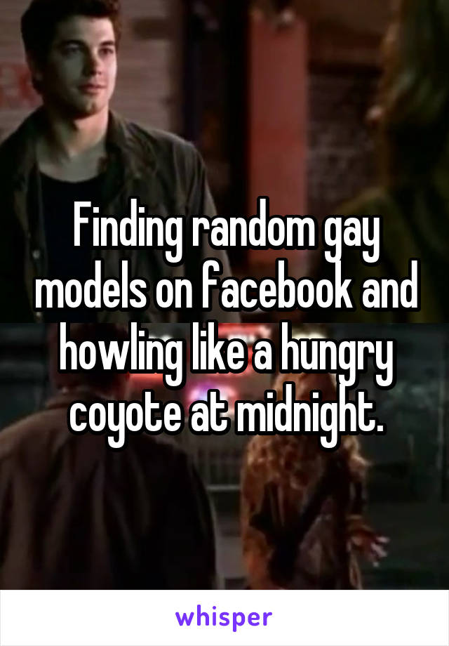 Finding random gay models on facebook and howling like a hungry coyote at midnight.