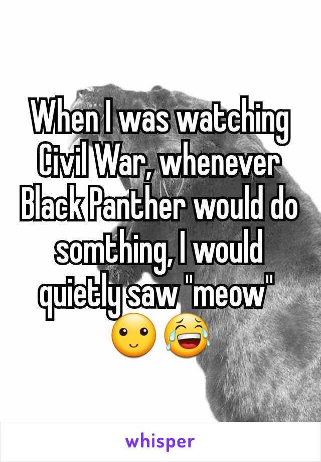 "When I was watching Civil War, whenever Black Panther would do somthing, I would quietly saw ""meow""  🙂😂"