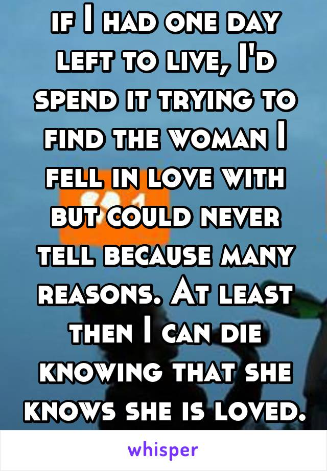 if I had one day left to live, I'd spend it trying to find the woman I fell in love with but could never tell because many reasons. At least then I can die knowing that she knows she is loved.