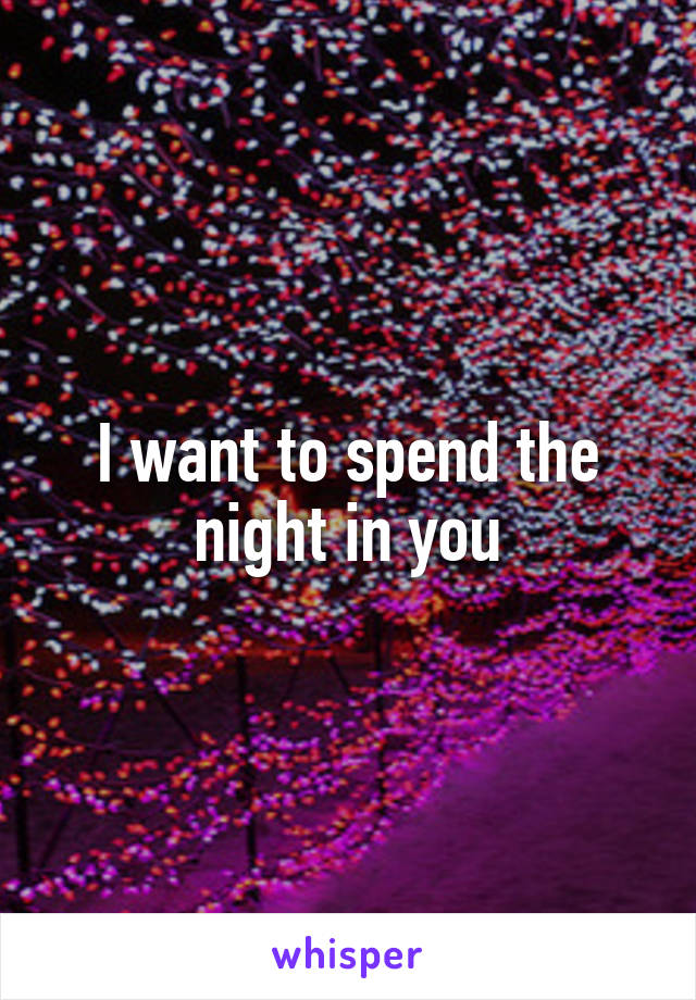 I want to spend the night in you