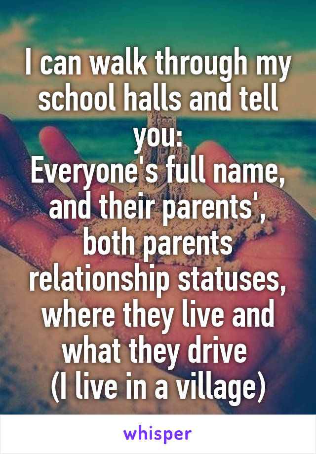 I can walk through my school halls and tell you: Everyone's full name, and their parents', both parents relationship statuses, where they live and what they drive  (I live in a village)