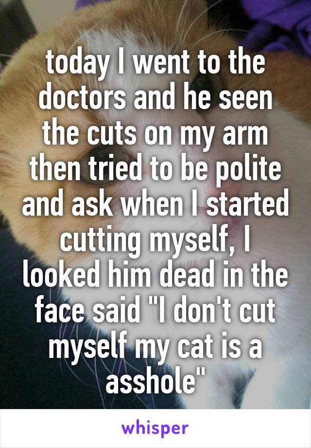 """today I went to the doctors and he seen the cuts on my arm then tried to be polite and ask when I started cutting myself, I looked him dead in the face said """"I don't cut myself my cat is a asshole"""""""