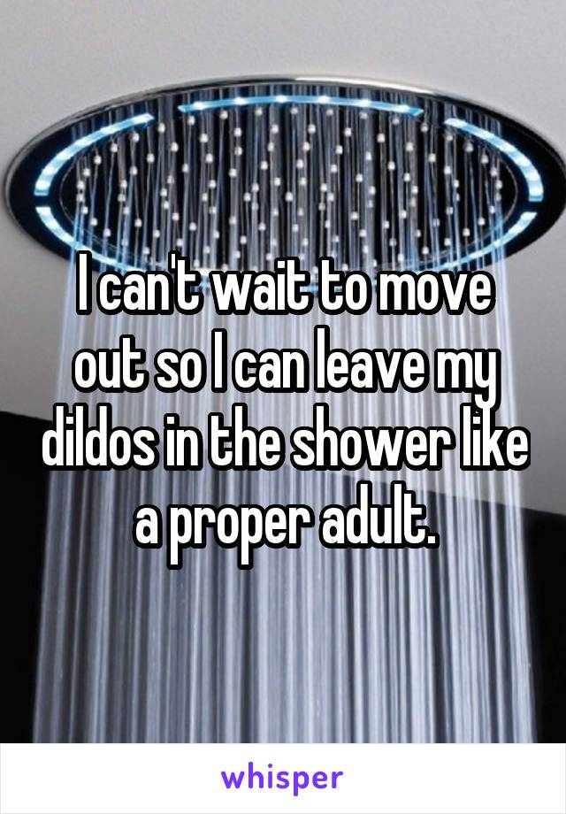 I can't wait to move out so I can leave my dildos in the shower like a proper adult.
