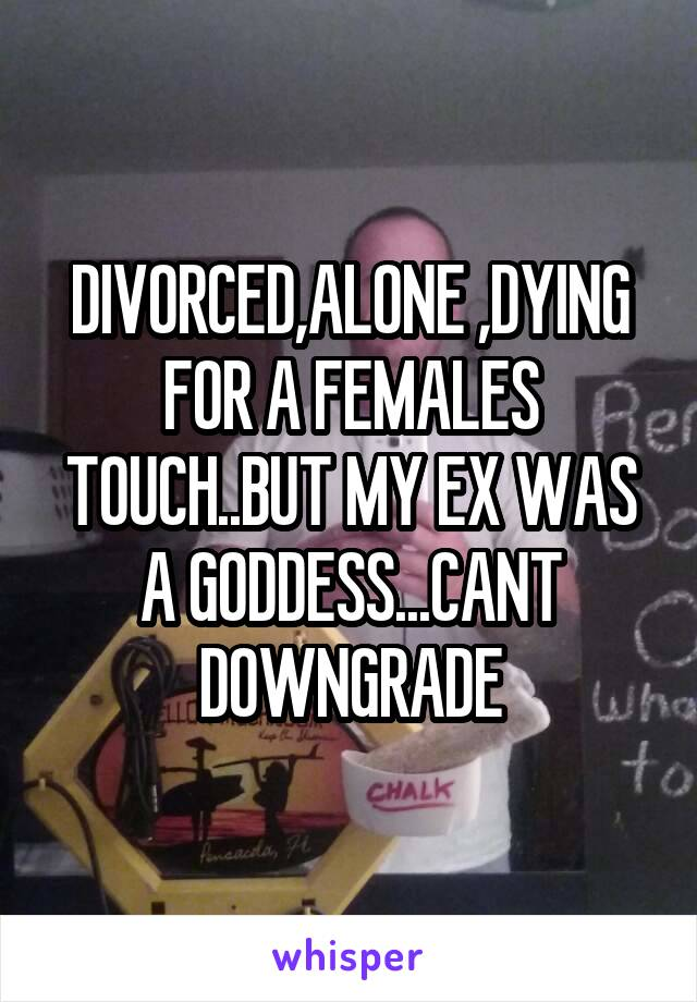 DIVORCED,ALONE ,DYING FOR A FEMALES TOUCH..BUT MY EX WAS A GODDESS...CANT DOWNGRADE