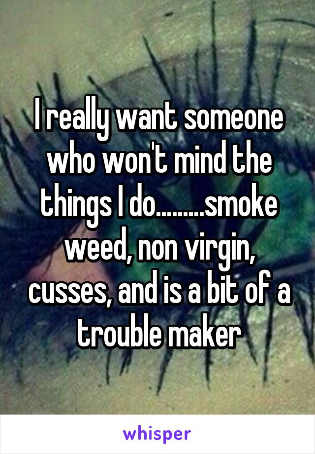 I really want someone who won't mind the things I do.........smoke weed, non virgin, cusses, and is a bit of a trouble maker